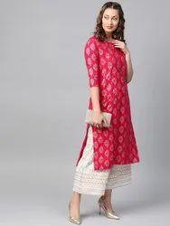 Indian Women Ethnic Wear Rayon Designer Straight Kurti Palazzo Set Collection