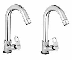 Brass Max Swan Neck Taps For Sink/ Wash Basin 360 Degree Moving, Chrome Finish - Set Of 2
