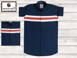 Keveen Plus Collar Neck Mens Dark Blue Lining Plain Cotton Shirt