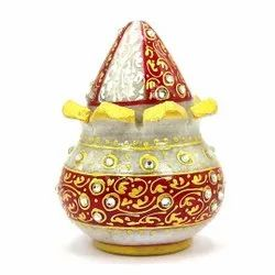Multicolor Vastu Mangal Kalasha Marble Pot With Marble Nariyal, For Home, Size: 4 X 3 Inches