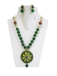 Fashion Jewellery Beaded Necklace Green Beads Designer Flower Pendant Set
