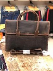 Brown Full Size Leather Laptop Bag