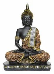 Golden And Black Resin Sitting Budhha Home Decorative Items, Size/Dimension: 5 Inches