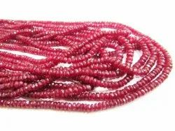 Natural Ruby Rondelle Faceted Top Quality 3 To 4mm Beads Sold Per Strand 8 Inches Long