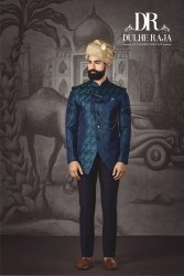 Jacquard Silk Party Dulhe Raja Blue Jodhpuri Suit, Dry Clean