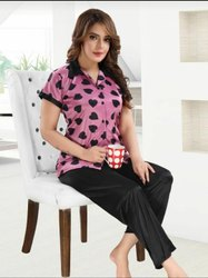 Female Multicolor Women Satin Printed Front Open Night Suit