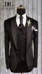 Jacquard Wedding Dulhe Raja Black Party Wear Suit, Size: Small