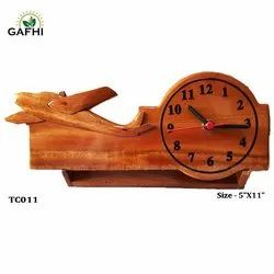 Gafhi Brwon Handmade Wooden Crafts ( Airplane With Clock), For Home, Model Name/Number: TC011