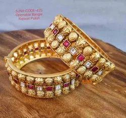 Golden Oxodize Fancy Openabla Bangle Rajwari Polish For Women Jewellery