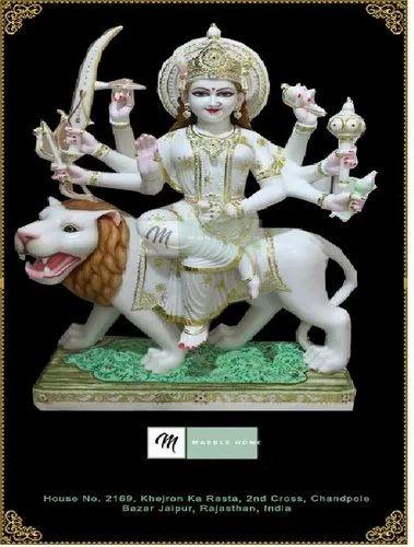 Painted Marble Durga Mata Ji Statue For Worship Id 11884397888