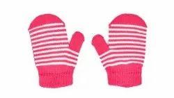 Designer Pink Full Finger Woolen Gloves