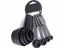 Omortex Plastic Black Measuring Spoon Set, For Kitchen