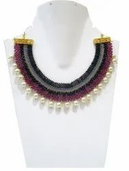 Hand Woven Hand Knitted Beaded Stone Necklace