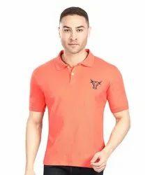 Mens Orange Cotton T Shirt
