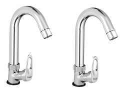 Brass Ocean Swan Neck Taps For Sink/ Wash Basin 360 Degree Moving, Chrome Finish - Set Of 2