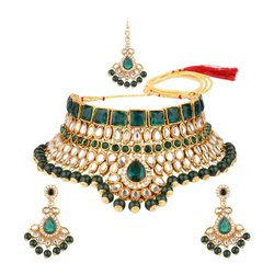 Alloy Artificial Jewelry Green Crystal Kundan Choker Necklace Jewellery Set