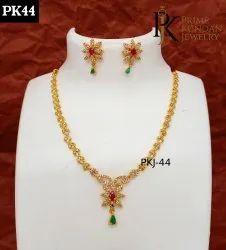 Golden Brass PK44 American Diamond Necklace Set, Size: Adjustable, Ad Stones