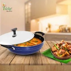 Round Tuelip Non-stick Deep Kadai With Stainless Steel Lid, Spatula & Scrub, For Cookware