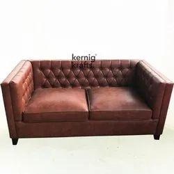 Kernig Krafts Modern Industrial Two Seater Leather Sofa Set, For Hotel