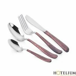Hotelium Polished Stainless Steel Cutlery - Luke Copper / Gold Antique 4mm 18/10, For Restaurant