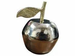 Polished Golden Brass Apple Shape Box, For Home