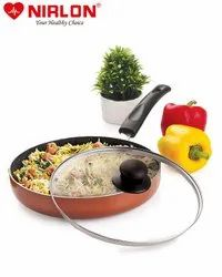 Nirlon Kitchen Accessories for Cooking Non Stick Aluminium Browni Fry Pan with Glass Lid