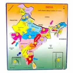 Wooden India Political State Map Puzzle, Size: 6x5inch