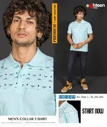Half Sleeve Cotton Eighteen Steps Men Sky Blue Casual Collar T-Shirt, Size: Large