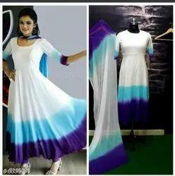 Suman Tex Ladies Plain Rayon Anarkali Suit
