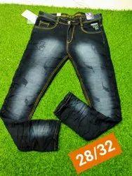 Comfort Fit Black Mens Printed Denim Jeans