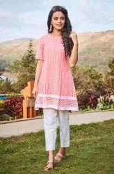 Janasya Women's Pink Cotton Tunic(J0099)