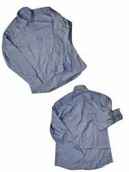 Plain Blue Men Full Sleeve Cotton Shirt