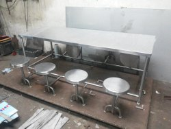 Ss Canteen Dining Table With Folding Stool