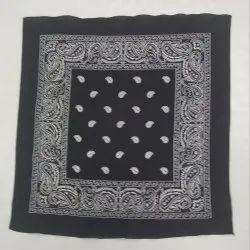 100 %  Black Cotton Printed Fancy Bandana