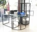 Glass Top Buffet Tables With Ms Powder Quoted Frames