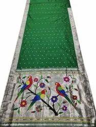 6.3 M (with Blouse Piece) Party Wear Green Colour Silver Jari Use Handloom Muniya Brocade Paithani Saree