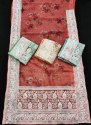 organza digital print saree with embroidery work