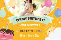 Soft Copy E Invitation Card For Online Birthday Party, Size: 4x3