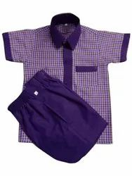 Summer Half sleeves Kids Cotton Check School Uniform, Size: Medium
