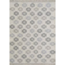 Rectangular Flat Weave Grey Crossed Woolen Area Rug and Carpets