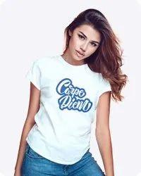 Bakwaz.com Cotton Carpe Diam T-Shirt for Girls