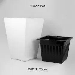 Black & White Gardening Square Top Plastic Flower Pot, For Home, Size: 34cm Height * 25cm Width