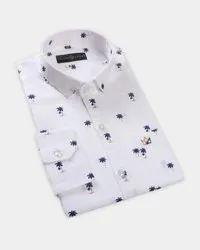 Printed White Men Colour Shirt