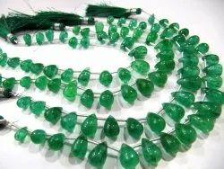 Natural Emerald Tear Drop Plain Smooth Beads Beryl Green Precious Stones