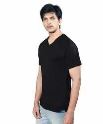 Mens Cotton Black T Shirt