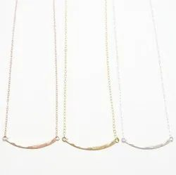 Sterling Silver Curved Bar Necklace.