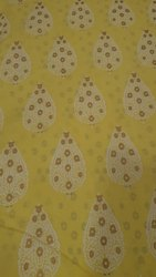 58inch Yellow And Pink 40inch Printed Cotton Kurti Fabric