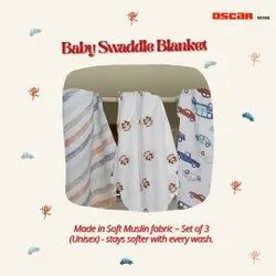 Organic Cotton Soft Baby Muslin Cloth Swaddle For 0-12 Months Pack Of 3