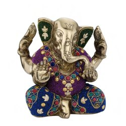 Brass and Stone 6 inch Ganesh Satue, For Gift