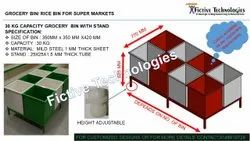 Fictive Technologies Mild Steel Grocery Storage Box, Capacity: 30kg And 50kg Capacity, Size/Dimension: Mentioned In Drawing